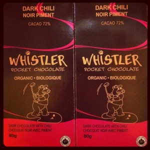 Locally made Whistler Dark Chili Pocket Chocolate